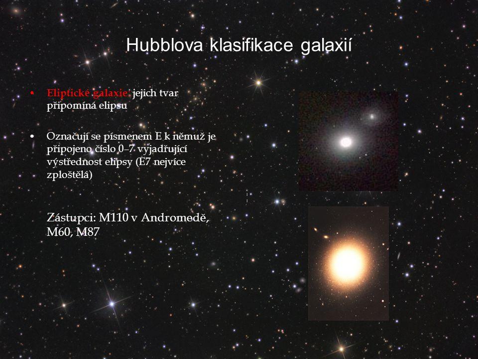 Hubblova klasifikace galaxií Eliptické galaxie : jejich tvar připomíná elipsu Označují se písmenem E k němuž je připojeno číslo 0–7 vyjadřující výstřednost elipsy (E7 nejvíce zploštělá) Zástupci: M110 v Andromedě, M60, M87