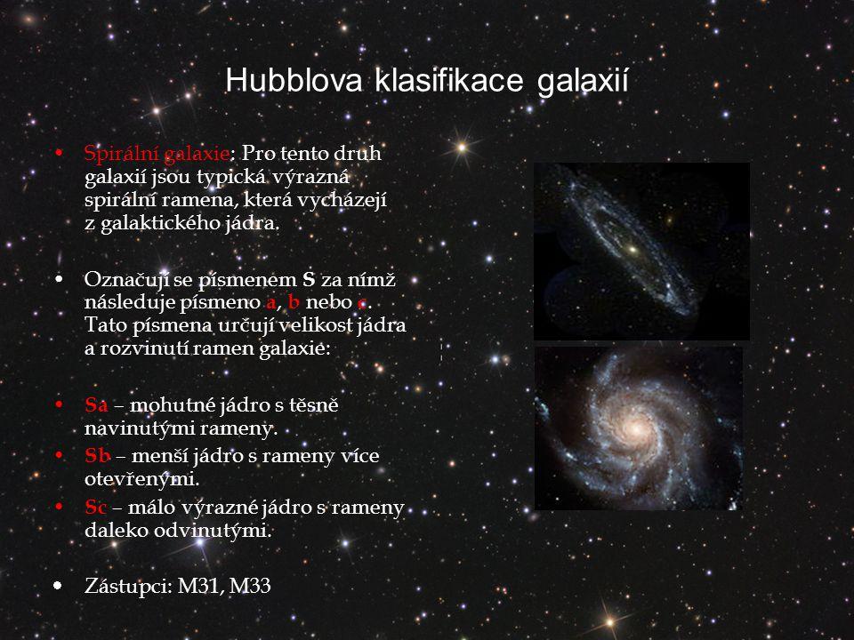Hubblova klasifikace galaxií Spirální galaxie: Pro tento druh galaxií jsou typická výrazná spirální ramena, která vycházejí z galaktického jádra.