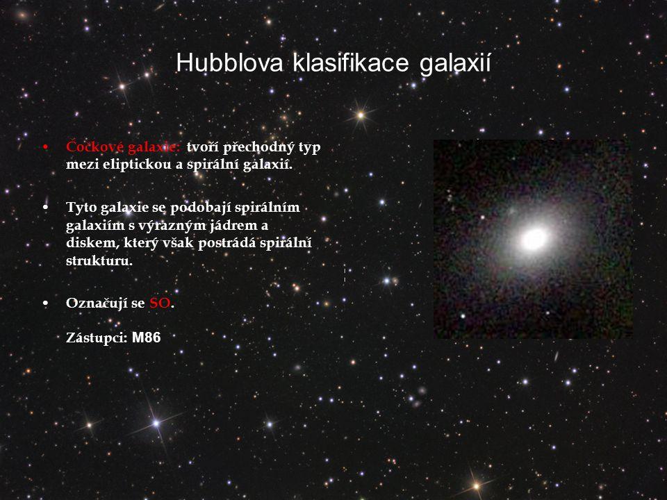Hubblova klasifikace galaxií Čočkové galaxie: tvoří přechodný typ mezi eliptickou a spirální galaxií.