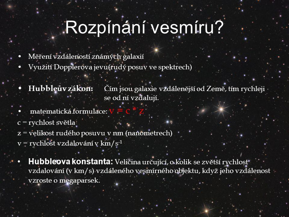 Rozpínání vesmíru.
