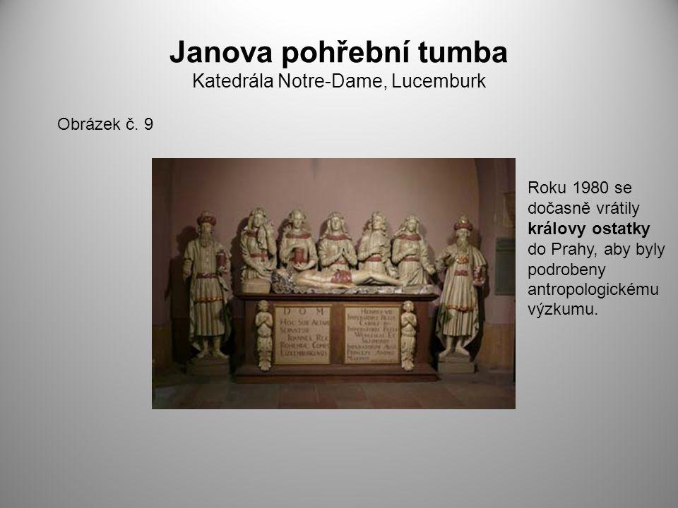 Janova pohřební tumba Katedrála Notre-Dame, Lucemburk Obrázek č. 9 Roku 1980 se dočasně vrátily královy ostatky do Prahy, aby byly podrobeny antropolo