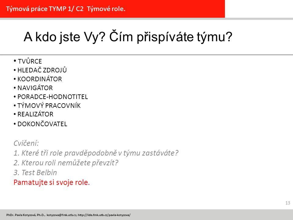 PhDr. Pavla Kotyzová, Ph.D., kotyzova@fmk.utb.cz, http://lide.fmk.utb.cz/pavla-kotyzova/ 13 A kdo jste Vy? Čím přispíváte týmu? Týmová práce TYMP 1/ C