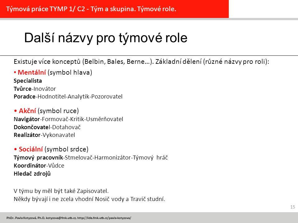 PhDr. Pavla Kotyzová, Ph.D, kotyzova@fmk.utb.cz, http://lide.fmk.utb.cz/pavla-kotyzova/ 15 Další názvy pro týmové role Týmová práce TYMP 1/ C2 - Tým a