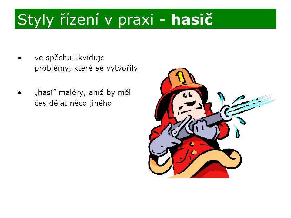 """ve spěchu likviduje problémy, které se vytvořily """"hasí"""" maléry, aniž by měl čas dělat něco jiného Styly řízení v praxi - hasič"""