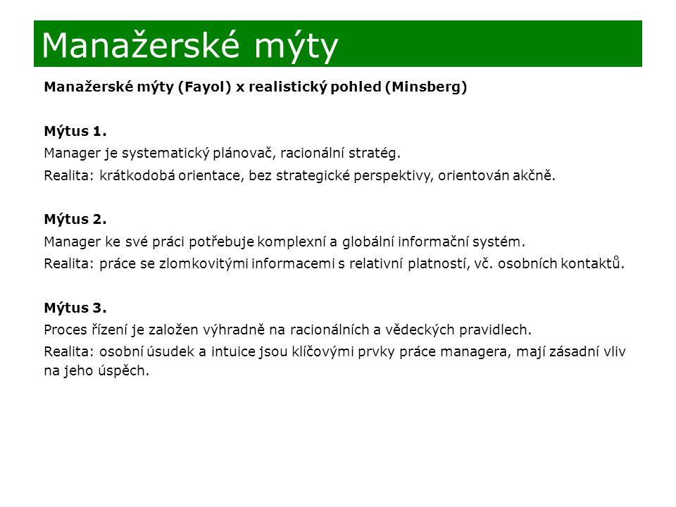 Manažerské mýty (Fayol) x realistický pohled (Minsberg) Mýtus 1. Manager je systematický plánovač, racionální stratég. Realita: krátkodobá orientace,