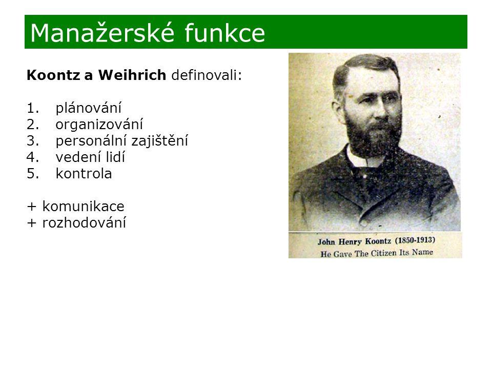 Koontz a Weihrich definovali: 1. plánování 2. organizování 3. personální zajištění 4. vedení lidí 5. kontrola + komunikace + rozhodování Manažerské fu
