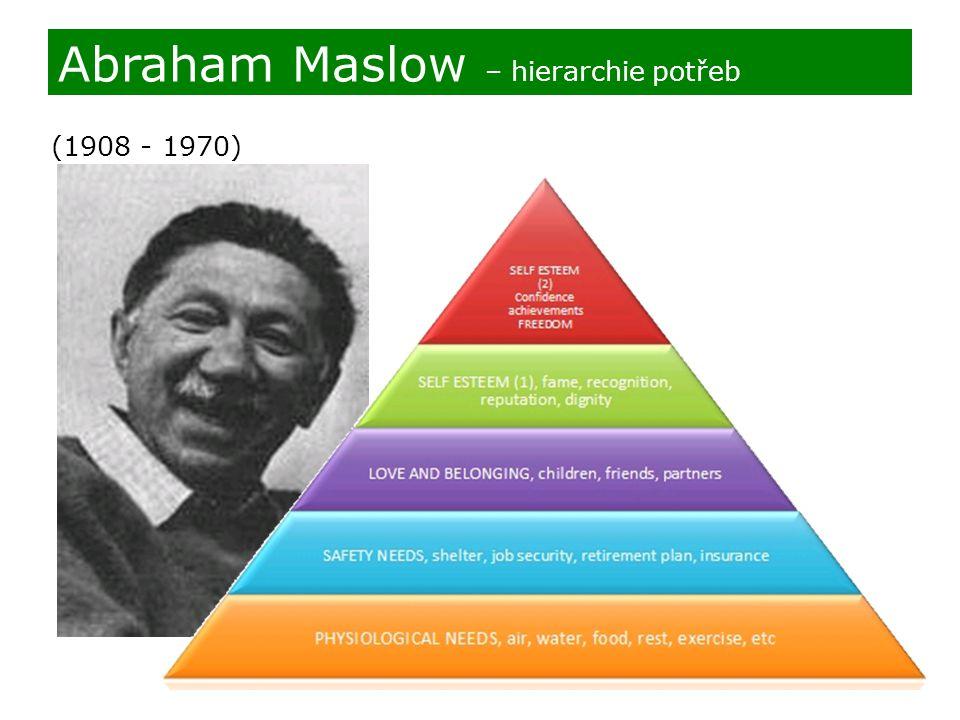 (1908 - 1970) Abraham Maslow – hierarchie potřeb