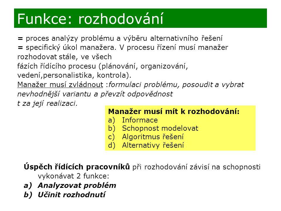 = proces analýzy problému a výběru alternativního řešení = specifický úkol manažera. V procesu řízení musí manažer rozhodovat stále, ve všech fázích ř