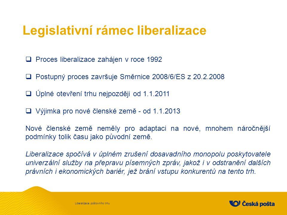 Legislativní rámec liberalizace Liberalizace poštovního trhu  Proces liberalizace zahájen v roce 1992  Postupný proces završuje Směrnice 2008/6/ES z 20.2.2008  Úplné otevření trhu nejpozději od 1.1.2011  Výjimka pro nové členské země - od 1.1.2013 Nové členské země neměly pro adaptaci na nové, mnohem náročnější podmínky tolik času jako původní země.