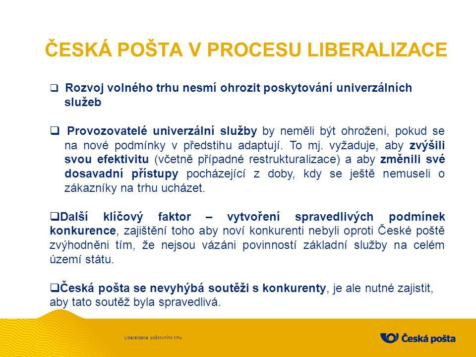 SPRAVEDLIVÁ SOUTĚŽ Liberalizace poštovního trhu  Základní služby, jsou pro společnost nepostradatelné.