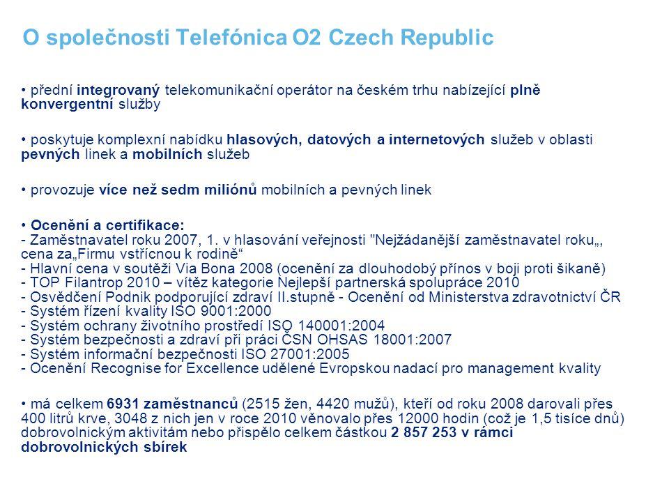 O společnosti Telefónica O2 Czech Republic přední integrovaný telekomunikační operátor na českém trhu nabízející plně konvergentní služby poskytuje ko
