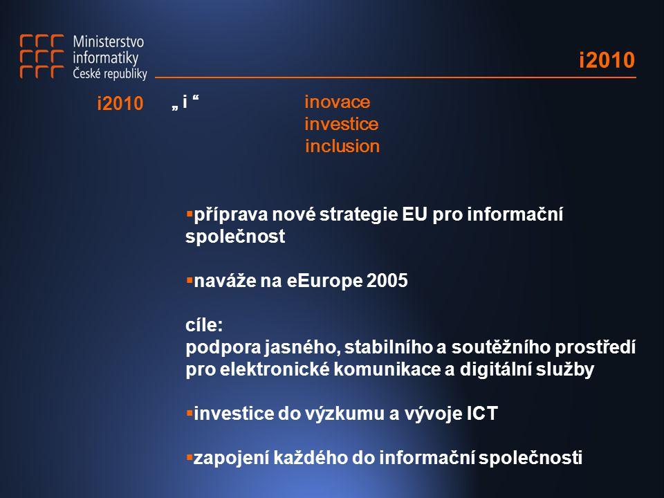 """i2010  příprava nové strategie EU pro informační společnost  naváže na eEurope 2005 cíle: podpora jasného, stabilního a soutěžního prostředí pro elektronické komunikace a digitální služby  investice do výzkumu a vývoje ICT  zapojení každého do informační společnosti i2010 """" i inovace investice inclusion"""