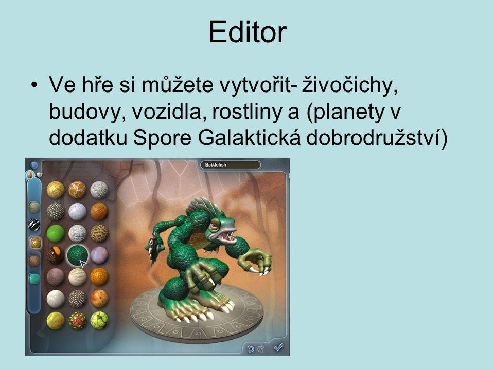 Editor Ve hře si můžete vytvořit- živočichy, budovy, vozidla, rostliny a (planety v dodatku Spore Galaktická dobrodružství)