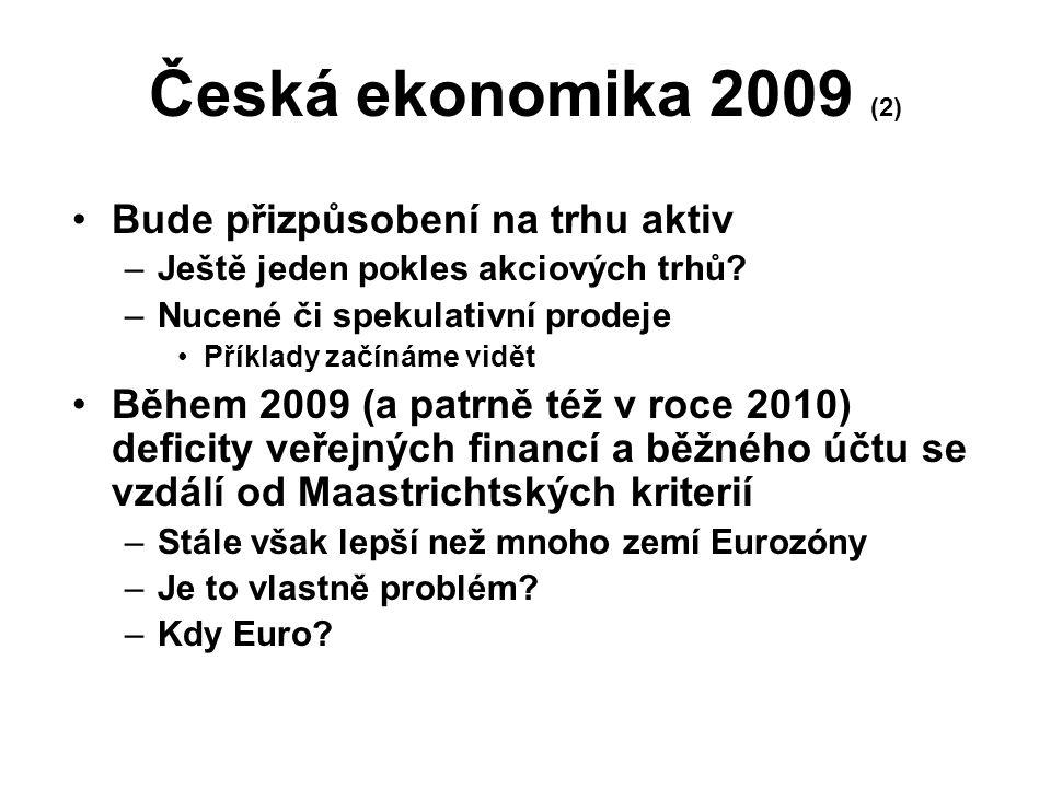 Česká ekonomika 2009 (2) Bude přizpůsobení na trhu aktiv –Ještě jeden pokles akciových trhů? –Nucené či spekulativní prodeje Příklady začínáme vidět B