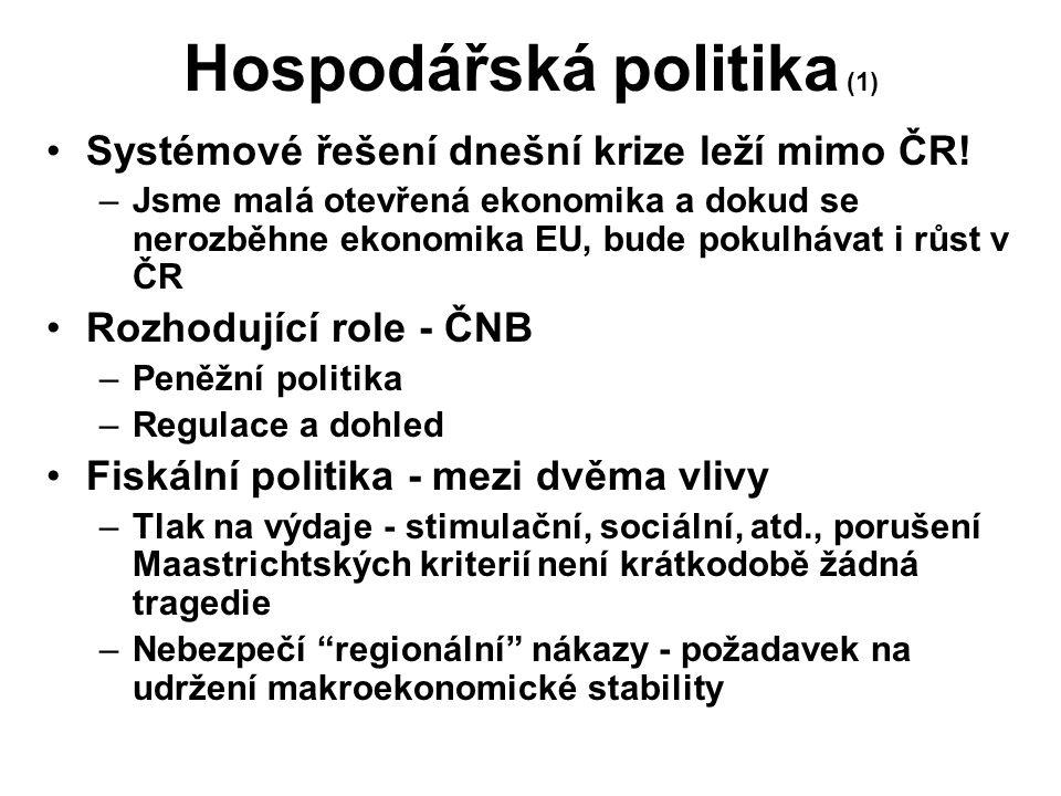 Hospodářská politika (1) Systémové řešení dnešní krize leží mimo ČR! –Jsme malá otevřená ekonomika a dokud se nerozběhne ekonomika EU, bude pokulhávat