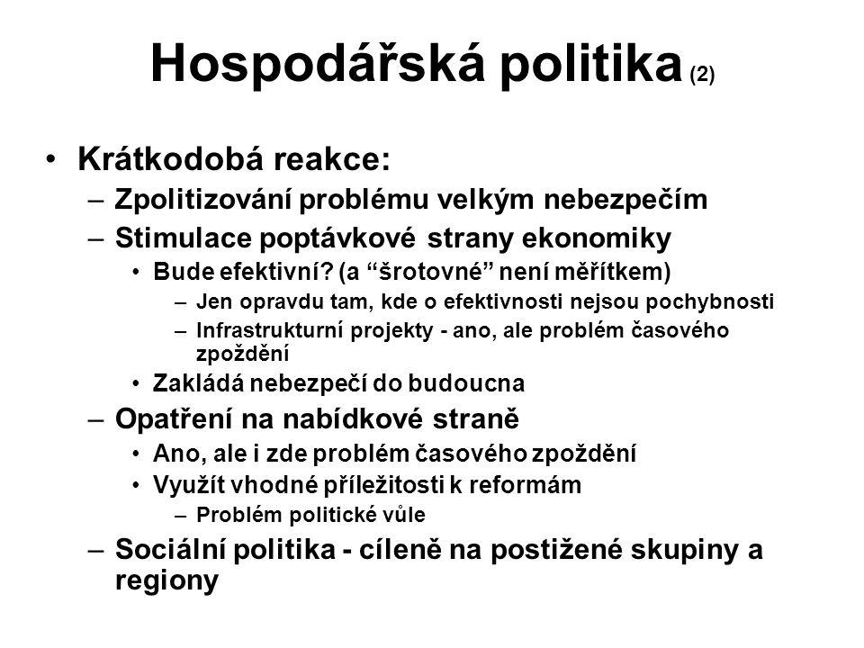 Hospodářská politika (2) Krátkodobá reakce: –Zpolitizování problému velkým nebezpečím –Stimulace poptávkové strany ekonomiky Bude efektivní.