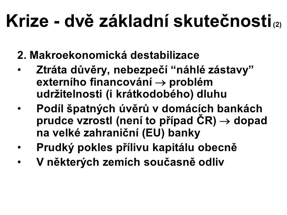 """Krize - dvě základní skutečnosti (2) 2. Makroekonomická destabilizace Ztráta důvěry, nebezpečí """"náhlé zástavy"""" externího financování  problém udržite"""