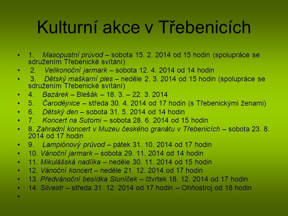 Kulturní akce v Třebenicích 1. Masopustní průvod – sobota 15. 2. 2014 od 15 hodin (spolupráce se sdružením Třebenické svítání) 2. Velikonoční jarmark