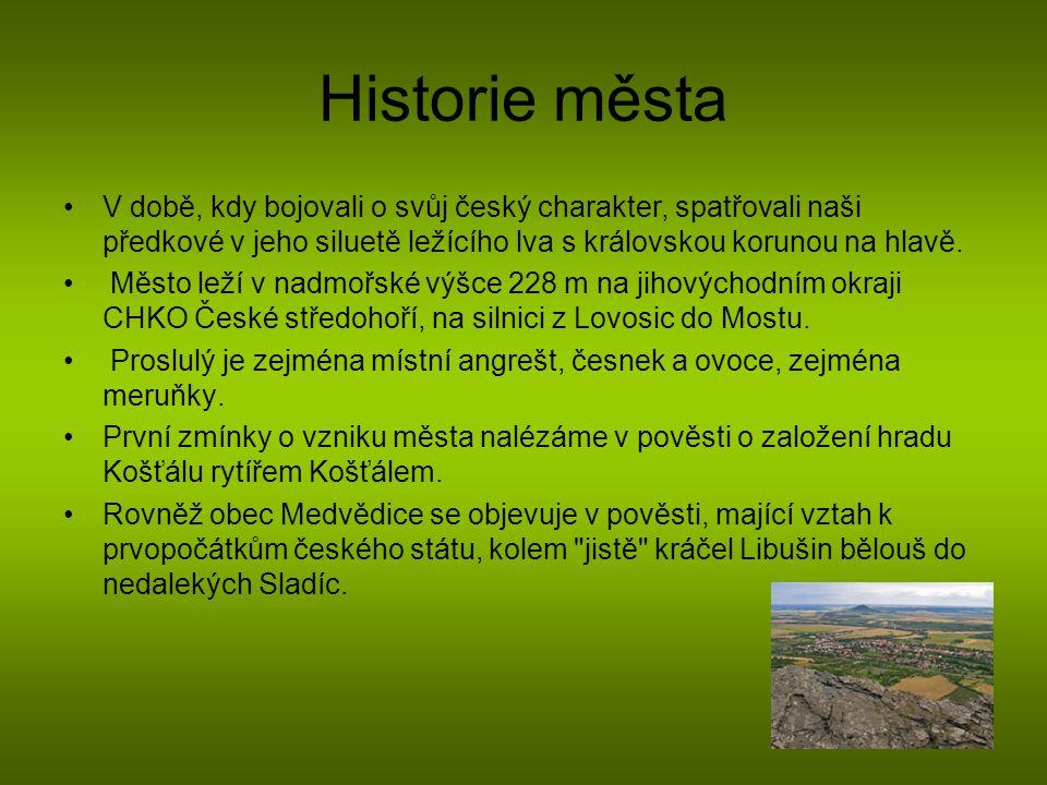 Historie města V době, kdy bojovali o svůj český charakter, spatřovali naši předkové v jeho siluetě ležícího lva s královskou korunou na hlavě. Město
