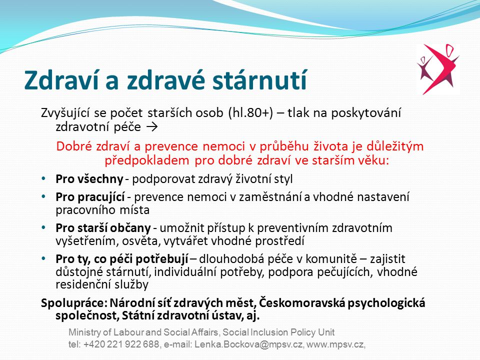 tel: +420 221 922 688, e-mail: Lenka.Bockova@mpsv.cz, www.mpsv.cz, Ministry of Labour and Social Affairs, Social Inclusion Policy Unit Zdraví a zdravé