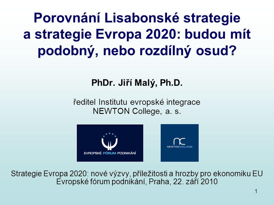 2 Hodnocení evropských ekonomik Původní Lisabonská strategie (2000) Slabé stránky ekonomiky EU: 15 milionů nezaměstnaných v EU nízká míra zaměstnanosti, nedostatečné zapojení žen a starších osob do trhů práce dlouhodobá strukturální nezaměstnanost, regionálně vysoká nezaměstnanost v některých oblastech EU nedostatečná rozvinutost sektoru služeb, zejména v oblasti informačních a komunikačních technologií, nedostatečné znalosti části obyvatelstva v této oblasti Silné stránky ekonomiky EU: nejlepší makroekonomický výhled za poslední generaci na stabilitu orientovaná měnová a fiskální politika, mzdová zdrženlivost nízká inflace a úrokové sazby, výrazná redukce rozpočtových deficitů úspěšný start jednotné měny euro, téměř dokončený vnitřní trh EU dobře vzdělaná pracovní síla, propracovaný systém sociální ochrany Převaha silných stránek nad slabými, k pokračování příznivého ekonomického vývoje nutno odstranit slabé stránky