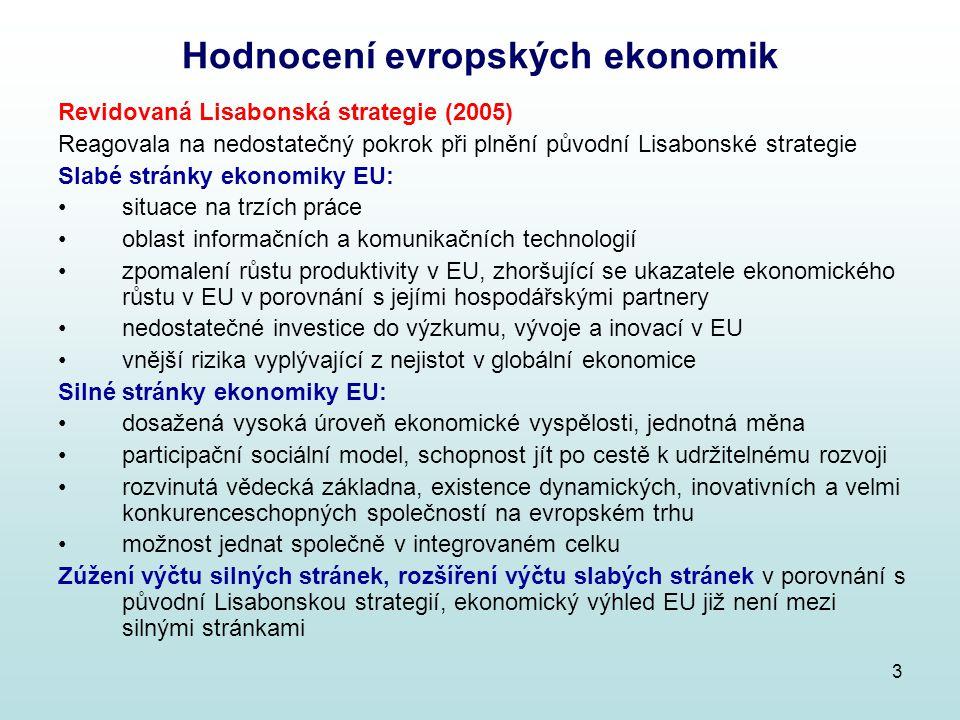 3 Hodnocení evropských ekonomik Revidovaná Lisabonská strategie (2005) Reagovala na nedostatečný pokrok při plnění původní Lisabonské strategie Slabé