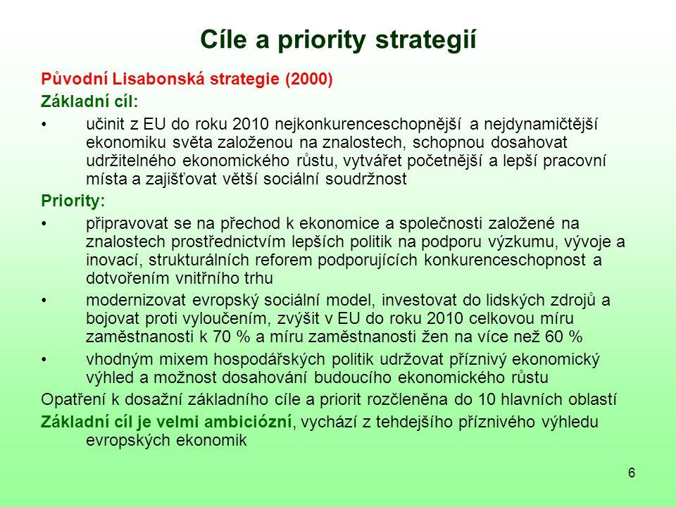 7 Cíle a priority strategií Revidovaná Lisabonská strategie (2005) Základní cíl: dosáhnout vyššího a trvalého ekonomického růstu a vytvářet početnější a lepší pracovní místa Priority: zvýšit přitažlivost EU pro investory a pracovníky podporovat znalosti, výzkum, vývoj a inovace, aby byly motorem evropského ekonomického růstu, zvýšit do roku 2010 výdaje na výzkum a vývoj v EU na 3 % HDP vytvářet prostředí, které podnikům umožní generovat početnější a lepší pracovní místa Opatření k dosažení základního cíle a priorit rozčleněna do 3 hlavních oblastí Základní cíl je zřetelně méně ambiciózní než v původní Lisabonské strategii Důraz je kladen na ekonomický růst jako základ k dosažení širších cílů v sociální oblasti a v oblasti životního prostředí k dosažení plné zaměstnanosti k udržení a zlepšení postavení EU v globalizované ekonomice