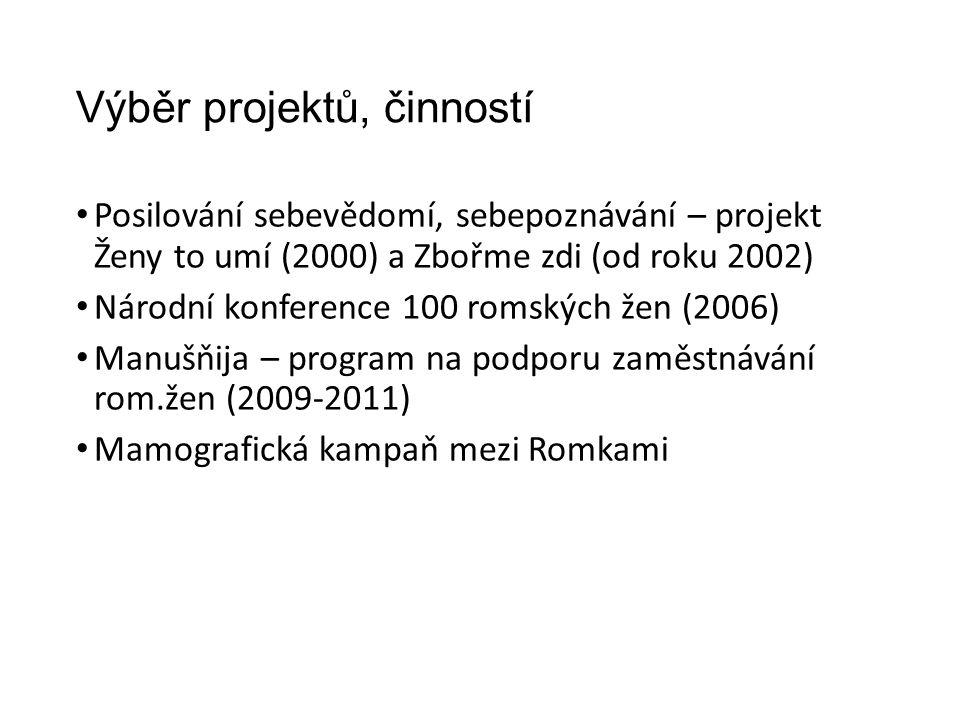 Výběr projektů, činností Posilování sebevědomí, sebepoznávání – projekt Ženy to umí (2000) a Zbořme zdi (od roku 2002) Národní konference 100 romských