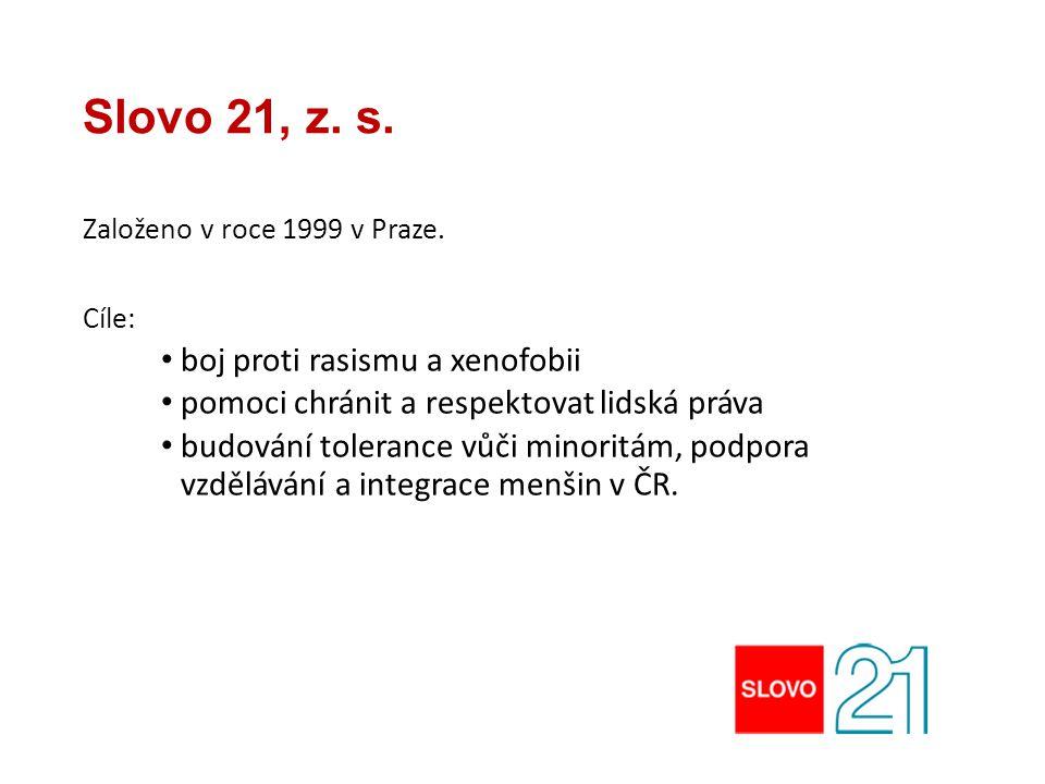 Slovo 21, z. s. Založeno v roce 1999 v Praze. Cíle: boj proti rasismu a xenofobii pomoci chránit a respektovat lidská práva budování tolerance vůči mi