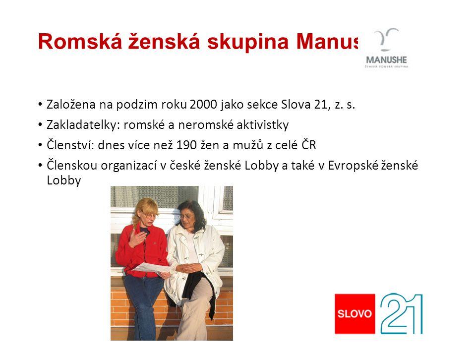 Romská ženská skupina Manushe Založena na podzim roku 2000 jako sekce Slova 21, z. s. Zakladatelky: romské a neromské aktivistky Členství: dnes více n