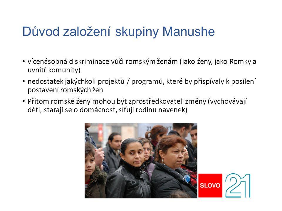 Důvod založení skupiny Manushe vícenásobná diskriminace vůči romským ženám (jako ženy, jako Romky a uvnitř komunity) nedostatek jakýchkoli projektů /