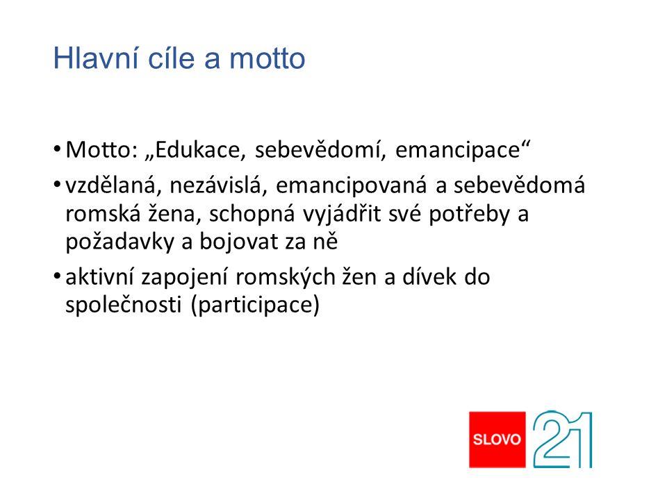 """Hlavní cíle a motto Motto: """"Edukace, sebevědomí, emancipace"""" vzdělaná, nezávislá, emancipovaná a sebevědomá romská žena, schopná vyjádřit své potřeby"""