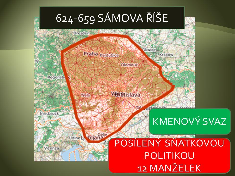 624-659 SÁMOVA ŘÍŠE KMENOVÝ SVAZ POSÍLENÝ SŇATKOVOU POLITIKOU 12 MANŽELEK