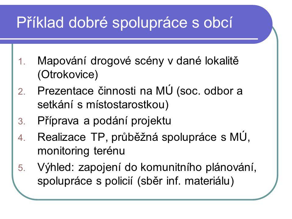 Příklad dobré spolupráce s obcí 1. Mapování drogové scény v dané lokalitě (Otrokovice) 2. Prezentace činnosti na MÚ (soc. odbor a setkání s místostaro