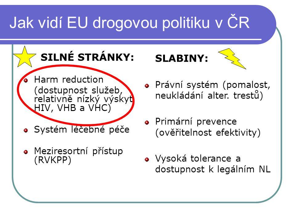 Jak vidí EU drogovou politiku v ČR SILNÉ STRÁNKY: Harm reduction (dostupnost služeb, relativně nízký výskyt HIV, VHB a VHC) Systém léčebné péče Mezire