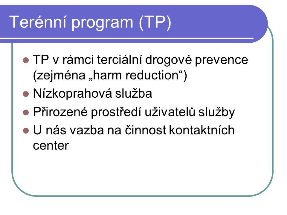 """Terénní program (TP) TP v rámci terciální drogové prevence (zejména """"harm reduction ) Nízkoprahová služba Přirozené prostředí uživatelů služby U nás vazba na činnost kontaktních center"""