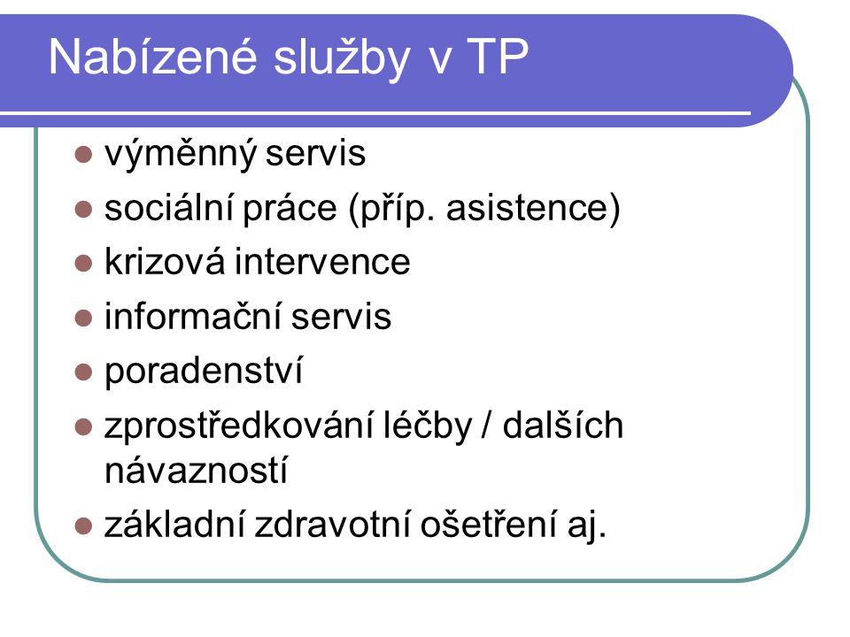 Nabízené služby v TP výměnný servis sociální práce (příp. asistence) krizová intervence informační servis poradenství zprostředkování léčby / dalších