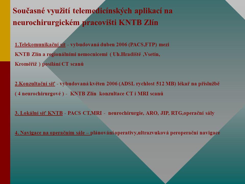 Současné využití telemedicínských aplikací na neurochirurgickém pracovišti KNTB Zlín 1.Telekomunikační sít - vybudovaná duben 2006 (PACS,FTP) mezi KNTB Zlín a regionálními nemocnicemi ( Uh.Hradiště,Vsetín, Kroměříž ) posílání CT scanů 2.Konzultační síť - vybudovaná květen 2006 (ADSL rychlost 512 MB) lékař na příslužbě ( 4 neurochirurgové ) - KNTB Zlín konzultace CT i MRI scanů 3.