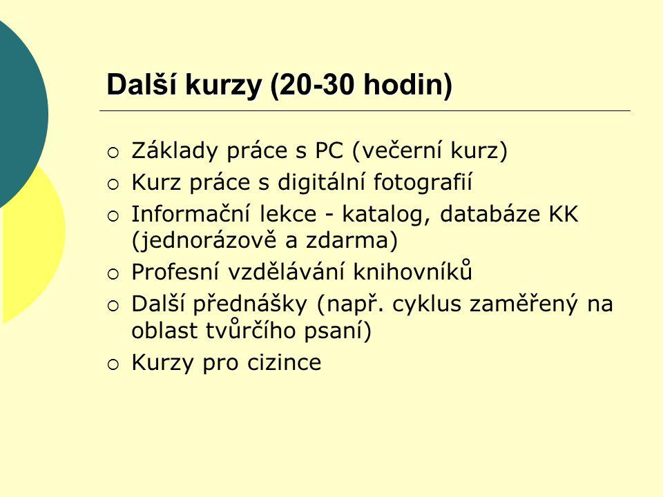 Další kurzy (20-30 hodin)  Základy práce s PC (večerní kurz)  Kurz práce s digitální fotografií  Informační lekce - katalog, databáze KK (jednorázově a zdarma)  Profesní vzdělávání knihovníků  Další přednášky (např.