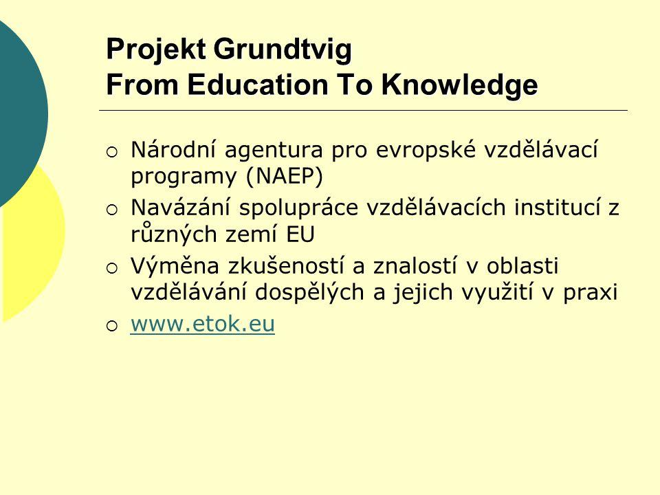 Projekt Grundtvig From Education To Knowledge  Národní agentura pro evropské vzdělávací programy (NAEP)  Navázání spolupráce vzdělávacích institucí z různých zemí EU  Výměna zkušeností a znalostí v oblasti vzdělávání dospělých a jejich využití v praxi  www.etok.eu www.etok.eu