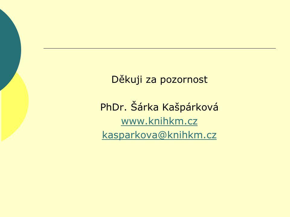 Děkuji za pozornost PhDr. Šárka Kašpárková www.knihkm.cz kasparkova@knihkm.cz