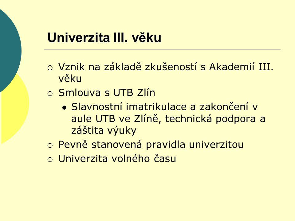 Univerzita III. věku  Vznik na základě zkušeností s Akademií III.