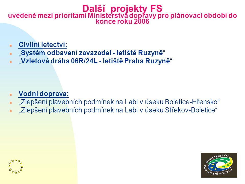 """12 Další projekty FS uvedené mezi prioritami Ministerstva dopravy pro plánovací období do konce roku 2006 n Silniční n """"Rychlostní komunikace R6,""""Kame"""