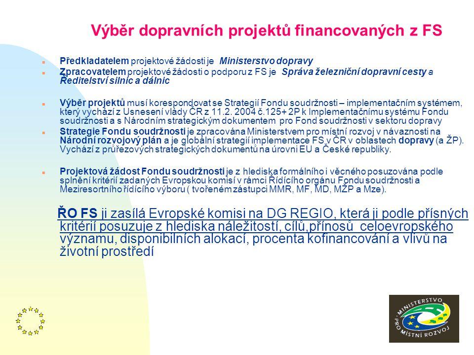 16 Systém realizace FS v ČR řídící orgány FS n Řídící orgán FS (Odbor Řídícího orgánu FS MMR) n Zprostředkující subjekt(MD) n Realizační orgány(ŘSD, SŽDC) n Meziresortní řídící výbor FS: zástupci MMR, MŽP, MD, MF, Mze.