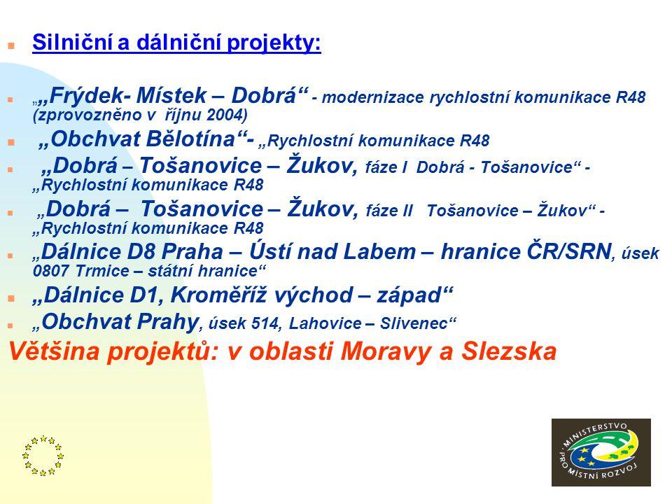 """9 n Silniční a dálniční projekty: n """" """"Frýdek- Místek – Dobrá - modernizace rychlostní komunikace R48 (zprovozněno v říjnu 2004) n """"Obchvat Bělotína - """"Rychlostní komunikace R48 n """"Dobrá – Tošanovice – Žukov, fáze I Dobrá - Tošanovice - """"Rychlostní komunikace R48 n """" Dobrá – Tošanovice – Žukov, fáze II Tošanovice – Žukov - """"Rychlostní komunikace R48 n """" Dálnice D8 Praha – Ústí nad Labem – hranice ČR/SRN, úsek 0807 Trmice – státní hranice n """"Dálnice D1, Kroměříž východ – západ n """" Obchvat Prahy, úsek 514, Lahovice – Slivenec Většina projektů: v oblasti Moravy a Slezska"""