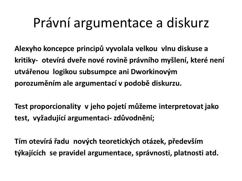 Právní argumentace a diskurz Alexyho koncepce principů vyvolala velkou vlnu diskuse a kritiky- otevírá dveře nové rovině právního myšlení, které není