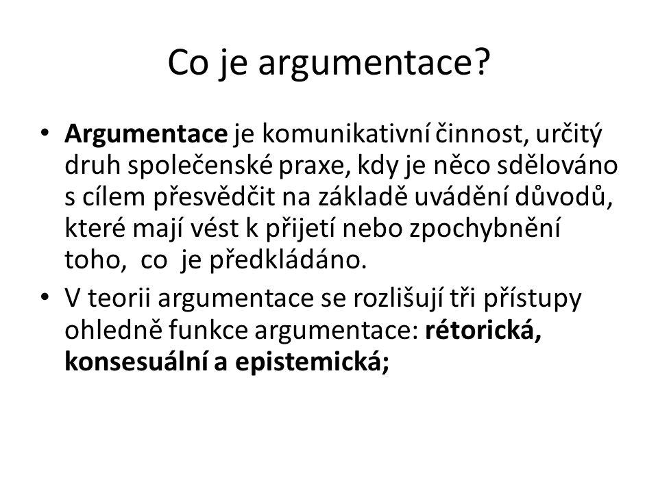 Co je argumentace? Argumentace je komunikativní činnost, určitý druh společenské praxe, kdy je něco sdělováno s cílem přesvědčit na základě uvádění dů