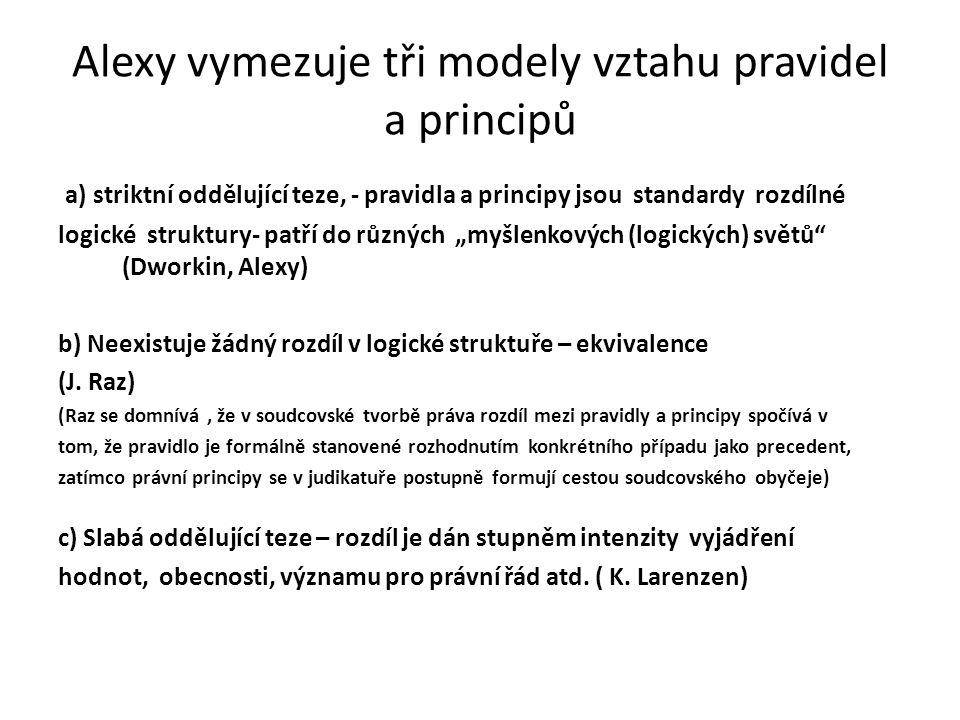 Alexy vymezuje tři modely vztahu pravidel a principů a) striktní oddělující teze, - pravidla a principy jsou standardy rozdílné logické struktury- pat