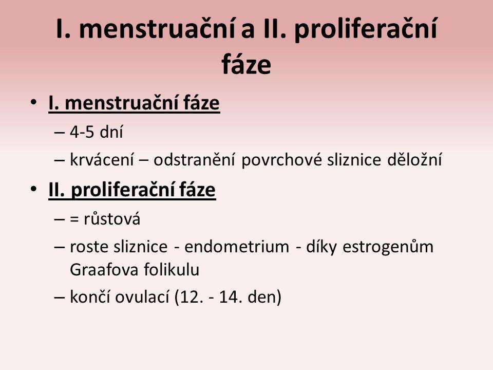 I. menstruační a II. proliferační fáze I. menstruační fáze – 4-5 dní – krvácení – odstranění povrchové sliznice děložní II. proliferační fáze – = růst