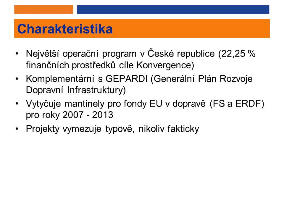 Charakteristika Největší operační program v České republice (22,25 % finančních prostředků cíle Konvergence) Komplementární s GEPARDI (Generální Plán Rozvoje Dopravní Infrastruktury) Vytyčuje mantinely pro fondy EU v dopravě (FS a ERDF) pro roky 2007 - 2013 Projekty vymezuje typově, nikoliv fakticky